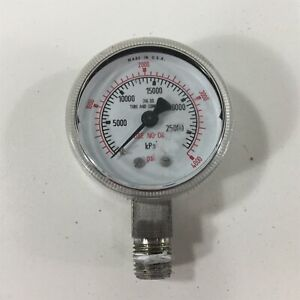4000psi Pressure Gauge 2 Face 316ss Tube Connection