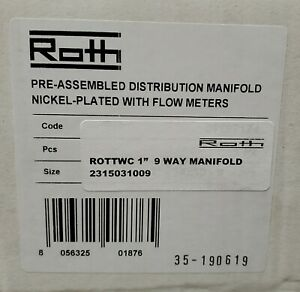Roth 1 9 Way Outlet Distribution Radiant Heat Manifold Set W Flow Meters