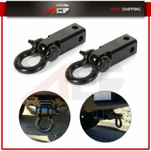 Trailer Hitch Shackle Bracket 2 Receiver 5t 3 4 Recovery D ring 4wd 2pcs