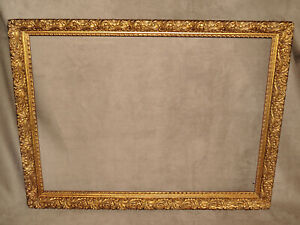 1880 High Relief Scallop Design Gold Antique Frame 69 18 1 2 X 24 1 2 For Art