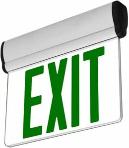 Green Led Edge Lit Exit Emergency Light Rotating Fire Safety Sign New Adjustable