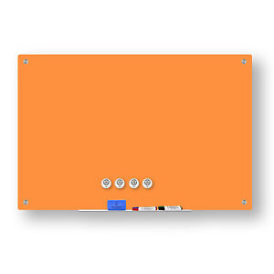 Magnetic Glass Dry Erase Marker Board Orange 36 x48