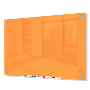 Magnetic Glass Dry Erase Marker Board Orange 48 x 60