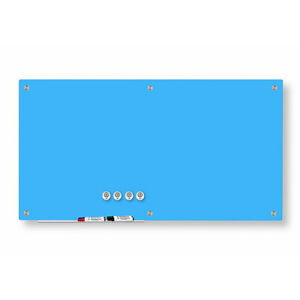 Magnetic Glass Dry Erase Marker Board Light Blue 48 x72