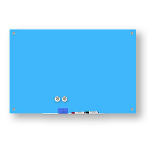 Magnetic Glass Dry Erase Marker Board Light Blue 24 X 36