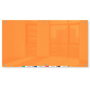 Magnetic Glass Dry Erase Marker Board Orange 48 x72