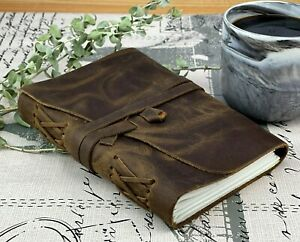 Genuine Leather Handmade Travel Book Writing Notebook Journal Diary Blank Pages