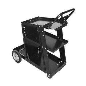 3 tier Heavy Duty Welding Cart For Mig Tig Arc Plasma Cutter Black