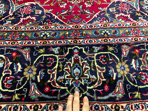 Antique Red Rug Hand Knotted Wool Oriental 10x13 Vintage Blue Handmade Navy 9x13