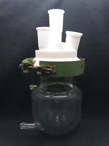 Chemglass 300ml Glass Jacketed Reaction Vessel Body Lid Adapters