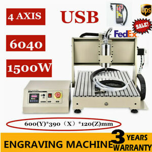 Usb Vfd 4axis Cnc 6040 Router Engraver Milling drill Machine 3d Cutter 1 5kw Ups
