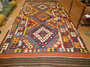 Antique Rug Kilim 6 10 X 13 Central Asian Lovely Fun Flat Woven Large Carpet