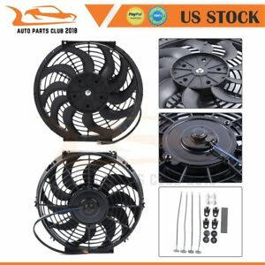 12 Inch 2x Universal Radiator Condenser Electric Cooling Fan Mount Kit 12v
