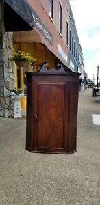 Outstanding Mahogany Wall Corner Cupboard Circa 1800s