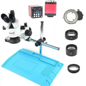 Industry 3 5x 90x Simul focal Trinocular Stereo Microscope Vga Hd Video Camera 7