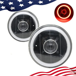 5 Inch Round Led Red Halo Black Lens Projector Headlights Angel Eye