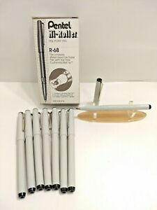 Lot Of 8 New Pentel Hi roller R 68 Black Roller Ball Pens Scarce Japan