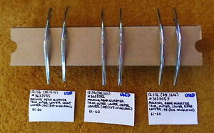1961 Cadillac 60s Rear Quarter Panel Louver Moldings complete Set Of 6 very Nice