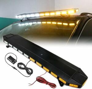 Black 48 Vehicle Roof Top Security Emergency Warning Amber White Led Light Bar