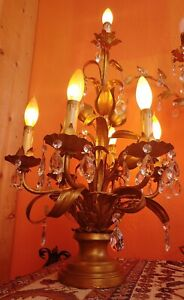 Antique Italian Gilt Tole 6 Arm Table Chandelier With Lots Of Crystals