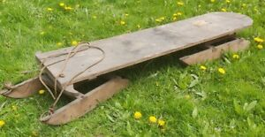 Antique Primitive Rustic Wooden Iron Runners Snow Sled Sleigh