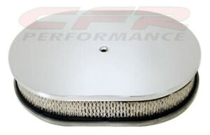 Chevy ford mopar 12 Oval Chrome Aluminum Air Cleaner Smooth