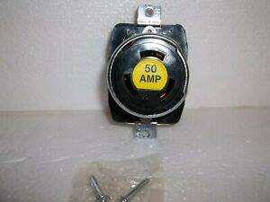Bryant 7379 50 Amp Locking Receptacle Armored 3 Pole 4 Wire 600vac 250vdc Bk