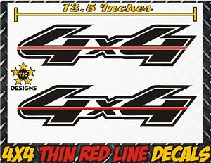 4x4 Truck Bed Decals Thin Red Line Gloss Black Firefighter