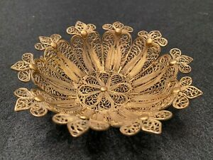 Fine Antique Filigree Bronze Brass Footed Bowl Signed Cu Exquisite