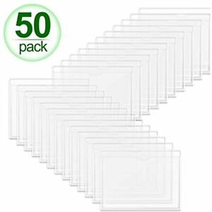 Self adhesive Index Card Holder 50 Pack Clear Plastic Library Pockets Label Top