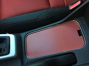 2013 15 Honda Civic Si Red Cup Holder Cover Carbon Fiber Pattern Cupholder Fb6