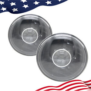 7 Inch Round Front Clear Lens Diamond Cut Projector Black Headlights