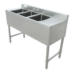 Maxara 3 Bowls Underbar Sink With Right Drainboard 48 x18 3 4