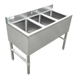 Maxara 3 Bowls Underbar Sink Without Drainboard 38 1 2 x18 3 4