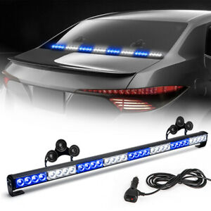 35 32 Led Blue White Traffic Advisor Emergency Hazard Warning Strobe Light Bar
