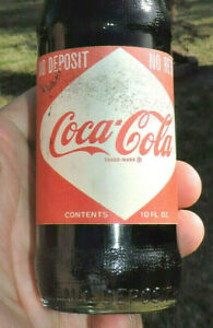 RARE ORIGINAL 1968 UNOPENED COCA COLA DIAMOND PAPER LABEL 10 oz BOTTLE