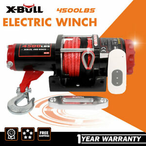 X bull Electric Winch 4500lbs Synthetic Wireless Remote Towing Trailer Off road