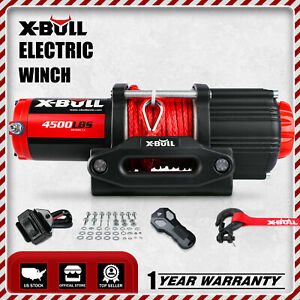 X Bull Electric Winch 4500lbs Synthetic 4wd Remote Truck Towing Trailer Off Road