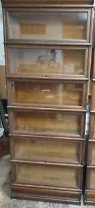 1906 Macey Barrister Lawyer Cabinet Bookshelves Quartered Oak Golden 6 Sections