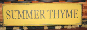 Primitive Country Summer Thyme Shelf Sign Yellow