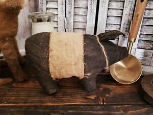 Primitive Pig Shelf Sitter Fabric Handmade Country Old Rusty Doll