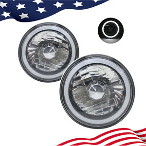 7 Inch Round White Ccfl Halo Gray Lens Diamond Cut Chrome Headlights Angel Eyes