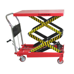 Hydraulic Manual Scissor Lift Table Cart 770 Lbs Max Height 51 Inch