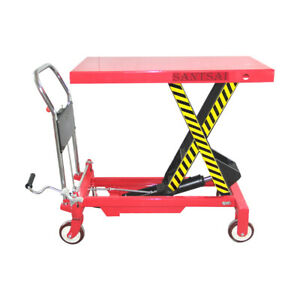 Hydraulic Manual Scissor Lift Table Cart 1100 Lbs Max Height 35 Inch
