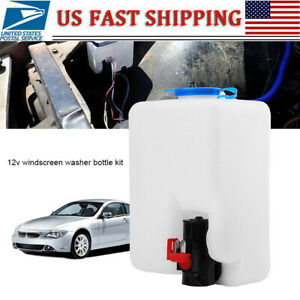 Utv Universal 12v Windshield Washer Bottle Tank Pump Wiper System Reservoir Kit