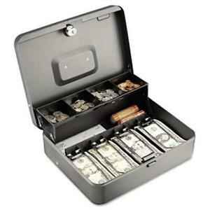 Tiered Cash Box With Bill Weights 12 In Cam Key Lock Charcoal