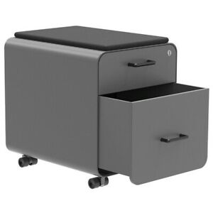 2 Drawer Rolling File Filing Cabinet W Round Corners Seat Cushion Steel Gray