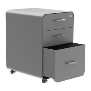 3 Drawer Rolling File Filing Cabinet Unit Lockable Round Corner Office Home Gray