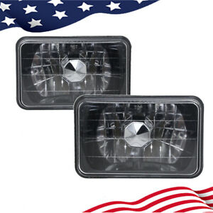 4x6 Clear Glass Lens Diamond Cut Chrome Black Semi Sealed Beam Headlight
