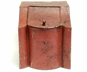 Antique Country General Store Counter Top Tin In Original Red Paint